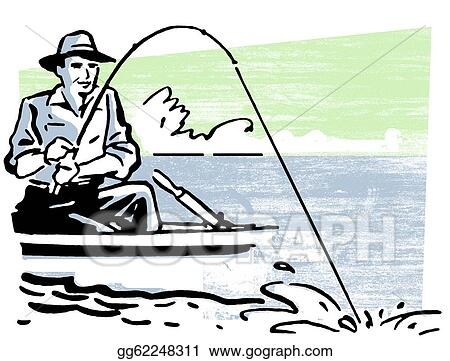 stock illustration a vintage image of a man fishing clipart rh gograph com free man fishing clipart men fishing clipart