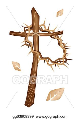 A Wooden Cross And Crown Of Thorns