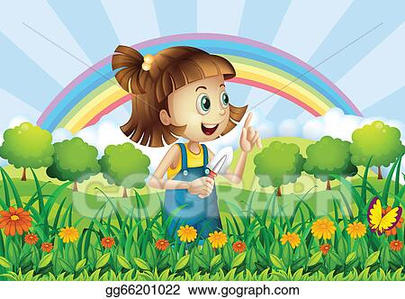 Vector Art A Young Girl Gardening Clipart Drawing Gg66201022