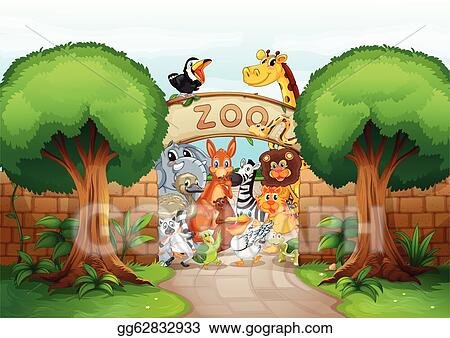 Vector Art A Zoo And Animals Clipart Drawing Gg62832933 Gograph