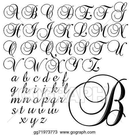 Drawing - Abc alphabet lettering design  Clipart Drawing