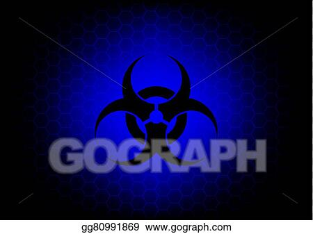 Vector Illustration Abstract Biohazard Symbol Dark Blue Background