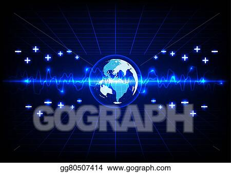 Vector art abstract blue lighting and globe energy technology