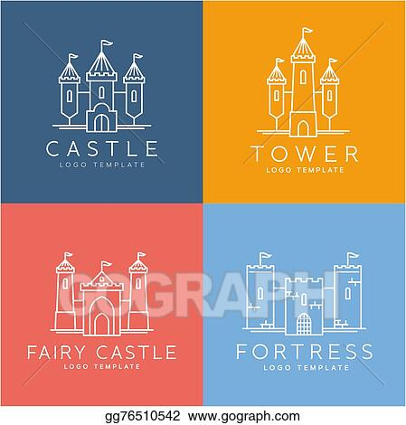 Vector Art Abstract Castle Line Style Vector Logo Template Set