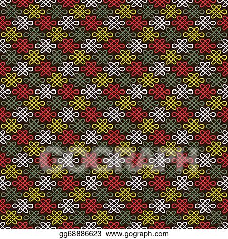 Abstract Chinese Flourish Pattern Wallpaper Vector Illustration For Oriental Design Red White Green And Black Colors Seamless Background