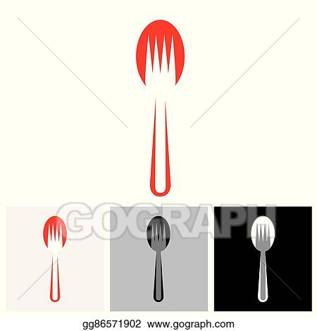 Abstract Colorful Arrangement Of Spoon And Fork Vector Icon