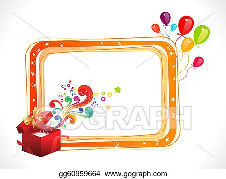 Drawings - Abstract colorful birthday frame with magic box. Stock ...