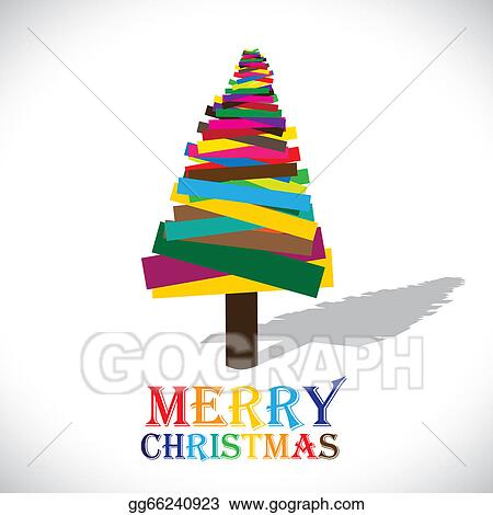 vector illustration abstract colorful christmas tree on white