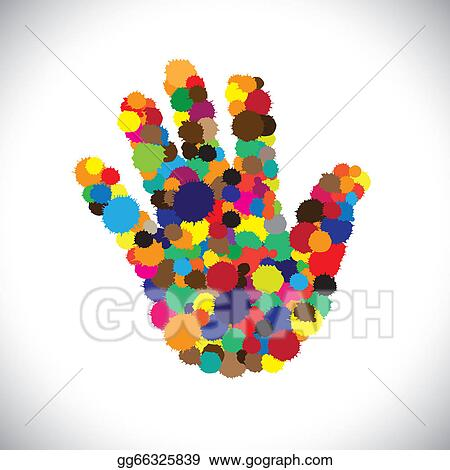 Vector Art Abstract Colorful Paint Splash On Hand Iconsign Or