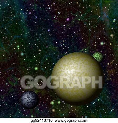 Clip Art - Abstract colorful universe with planets, shiny