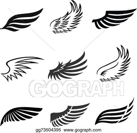 98eecb352 Vector Art - Abstract feather angel or bird wings icons set isolated ...