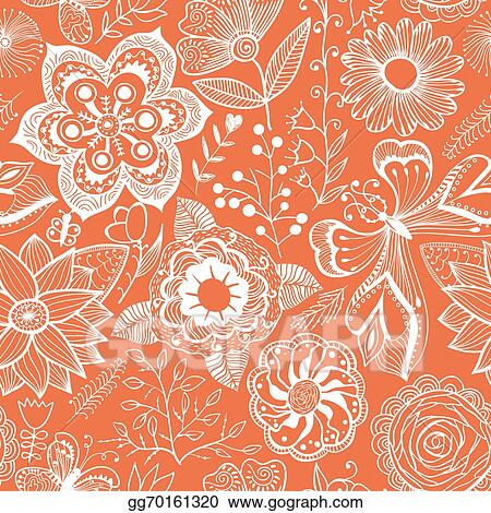 Abstract Floral Background Summer Theme Seamless Pattern Vector Wallpaper Texture Wrapping With Flowers Spring And For Your Design