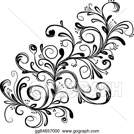 vector illustration abstract floral branch sketch for your design Simple Floral Design Clip Art abstract floral branch sketch for your design