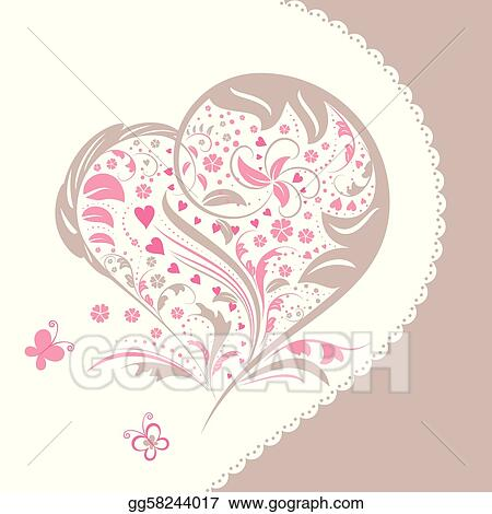 Vector clipart abstract flower heart shape invitation card vector abstract flower heart shape invitation card stopboris Image collections