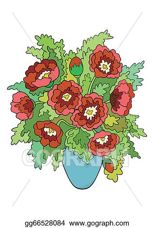 Vector Stock Abstract Flowers In Vase Clipart Illustration
