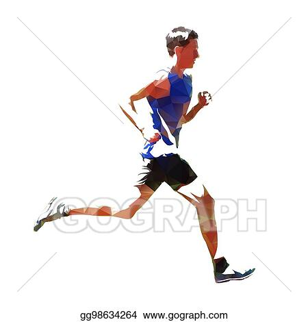 Vector Art - Abstract geometric running man, isolated vector