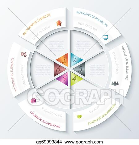 eps illustration abstract infographic design with circle and six