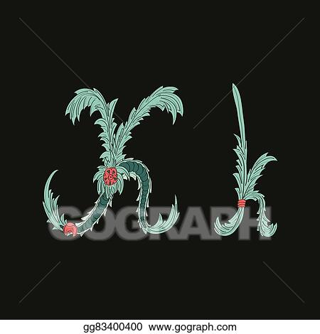 Vector Art Abstract Letter K Logo Icon In Blue Tropical Style Eps