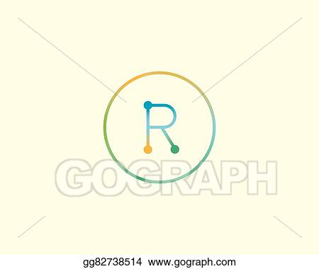 abstract letter r logo design template colorful lined creative sign universal vector icon