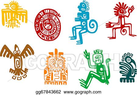 Vector Illustration Abstract Maya And Aztec Art Symbols Stock