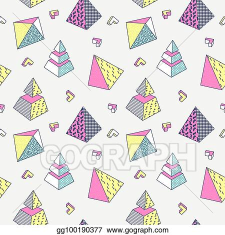Vector Stock - Abstract memphis style seamless pattern with
