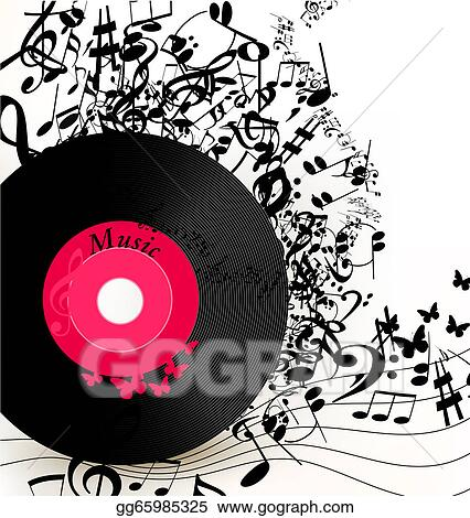 Drawings Abstract Music Background With Vinyl Record And Notes
