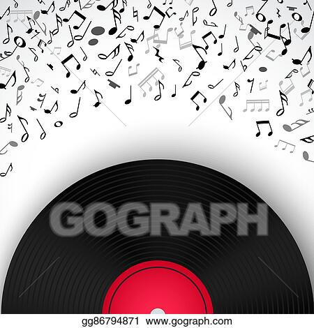 Vector Stock - Abstract musical frame and border with black notes on ...