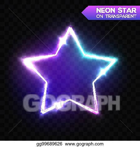 Vector Illustration Abstract Neon Star On Dark Blue Transparent