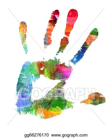 clip art abstract oil painting hand print smeared spot stock