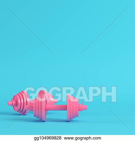 de32d211 Clip Art - Abstract pink dumbbells bright blue background in pastel ...