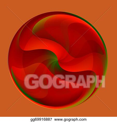 Clipart Abstract Red Glass Marble Stock Illustration