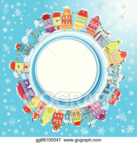abstract round banner with small fairy town on light blue sky background with decorative colorful houses in winter time christmas and new year holidays