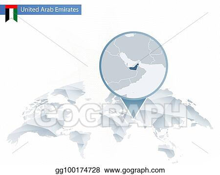 Vector Art - Abstract rounded world map with pinned detailed united ...