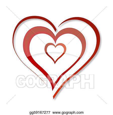 Vector Illustration Abstract Swirl Love Heart Symbol Red Color