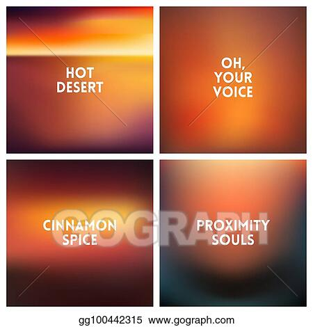 Vector Clipart Abstract Vector Sunset Blurred Background Set
