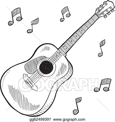 vector art acoustic guitar sketch clipart drawing gg62499397 rh gograph com simple acoustic guitar clipart acoustic guitar clip art logos