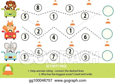 Eps Illustration Activity Page For Children Handwriting Practice