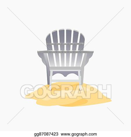 EPS Vector - Adirondack chair standing on the yellow sand ...
