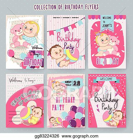 vector stock adorable baby birthday party invitation clipart