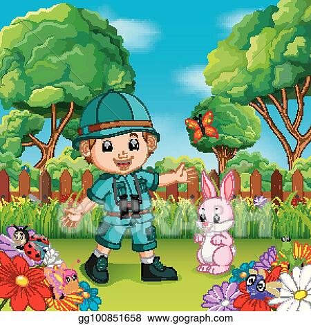 vector art adventure cute boy with rabbit in a flower garden clipart drawing gg100851658 gograph adventure cute boy with rabbit