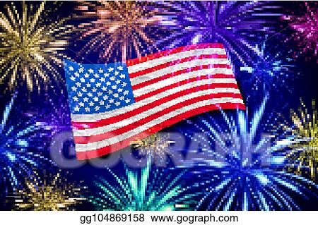 aerial fireworks display behind a fluttering usa flag 4th of july independence day vector