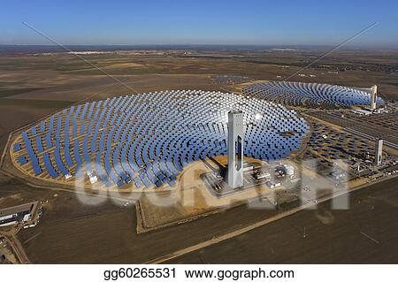 Picture - Aerial view of solar thermal power plant  Stock