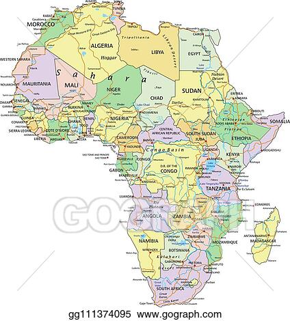 Africa Detailed Map.Vector Stock Africa Highly Detailed Editable Political