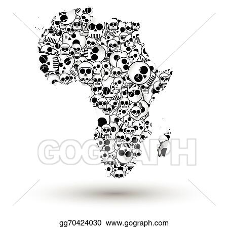 Africa Map Background.Clip Art Vector Africa Map In The Form Of Skulls Background Vector
