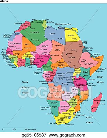 Vector Art  Africa with editable countries and names Clipart
