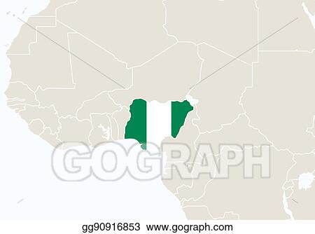 Africa Map Nigeria.Eps Vector Africa With Highlighted Nigeria Map Stock Clipart