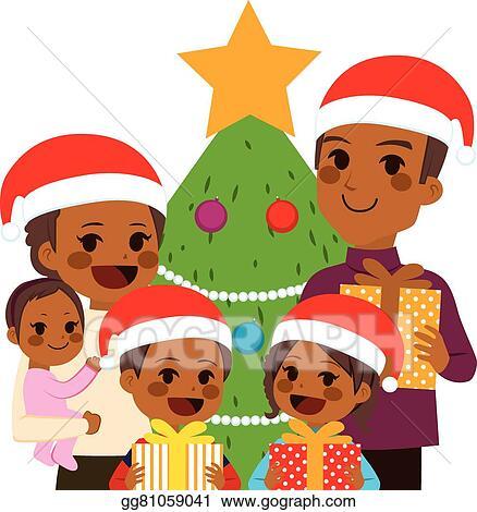 Eps Vector African American Family Celebrating Christmas Stock