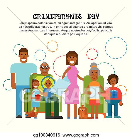 Eps vector african american family together happy grandparents day african american family together happy grandparents day greeting card banner m4hsunfo