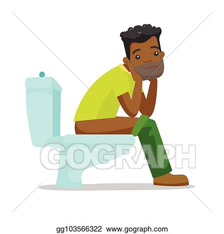 Vector Illustration African American Man Suffering From Constipation Stock Clip Art Gg103566322 Gograph