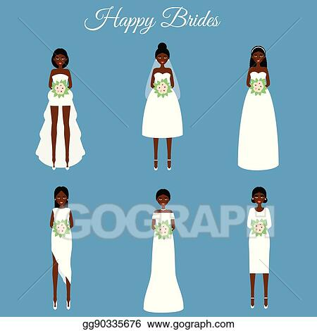 Vector Art - African american smiling happy brides. women in fashion ...
